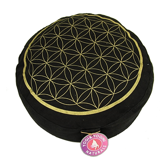 Zafu - coussin de méditation - Fleur de vie - cosse de sarassin