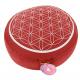 Zafu - coussin de méditation - Fleur de vie - ROUGE / ARGENT  - cosse de sarassin