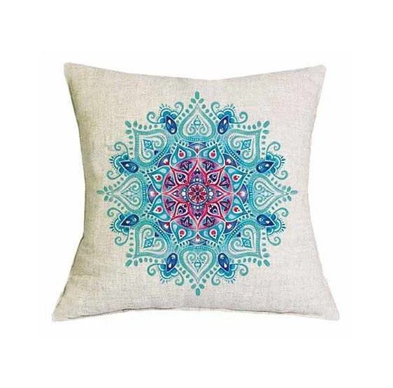 Housse coussin Lotus Turquoise & rose