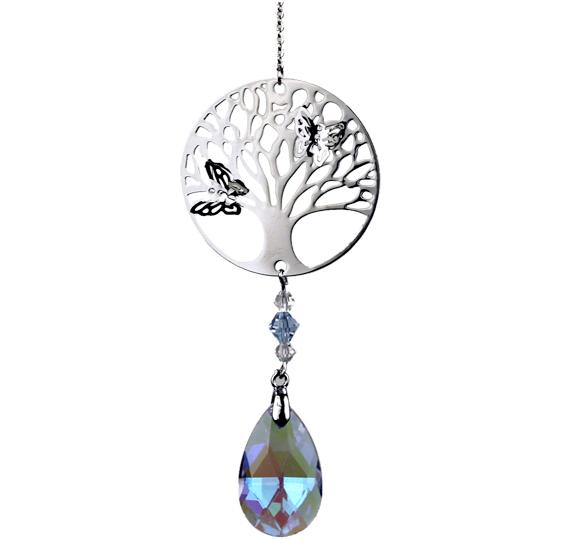 Mobile Arbre de vie avec papillons argenté - goutte cristal - Feng shui