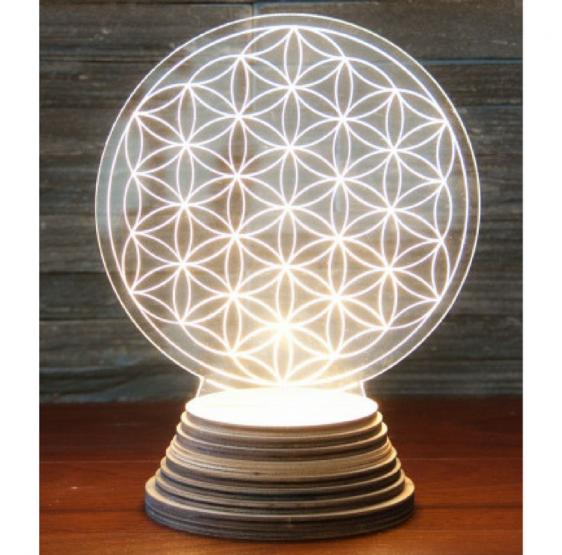 Lampe ambiance Fleur de Vie sur socle LED - bois et acryl