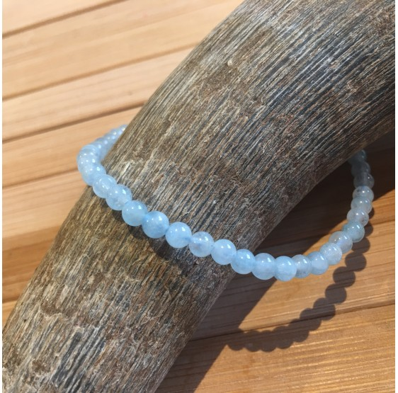 Bracelet Aigue marine - elastique