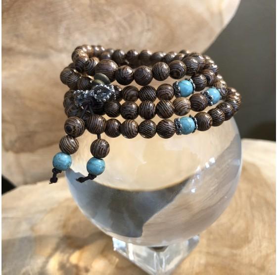 Mala collier en bois & turquoise - 108 perles