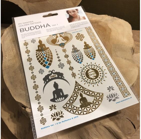 """Tatouages - ésotérique - énergie - doré """"Bouddha Buddha"""""""