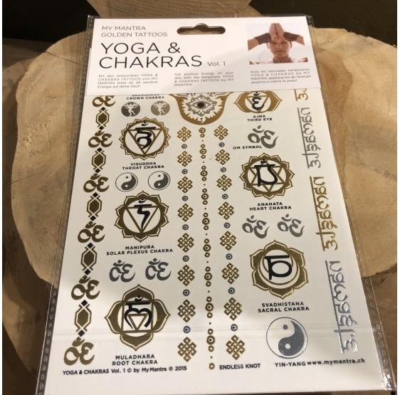 """Tatouages - ésotérique - énergie - doré """"Yoga & Chakras"""" Om - Ohm"""
