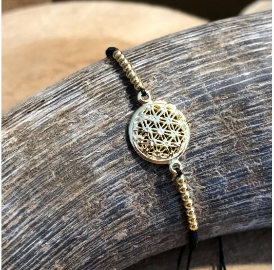 Bracelet fleur de vie argent plaqué or - 1,2 cm