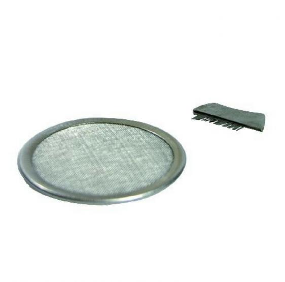Tamis & brosse pour encens - en acier fin - 8,5 cm
