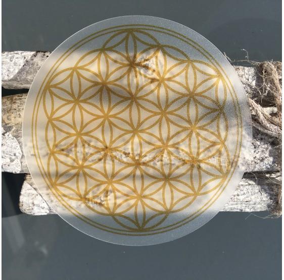 Sous verre Acryl  - Fleur de Vie - OR - 9,5 cm - souple