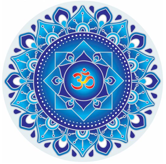 Blue Om Mandala sunseal 14 cm