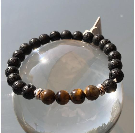Bracelet Homme Oeil de Tigre et pierre de lave rondes 8 mm