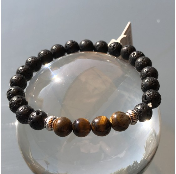 Bracelet Homme Oeil de Tigre et Rudraksha Perles rondes 8 mm