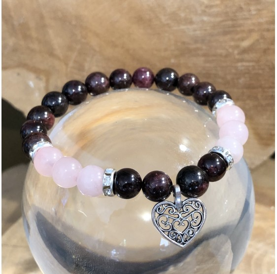 Bracelet Grenat / Quartz rose avec coeur