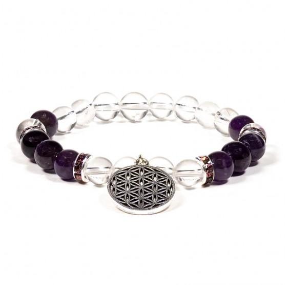 Bracelet Cristal de roche / Amethyste + fleur de vie