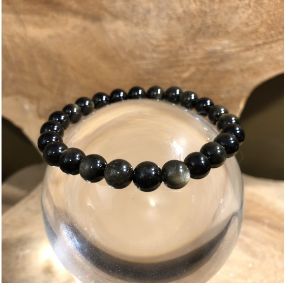 Bracelet Obsidienne argentée - elastique