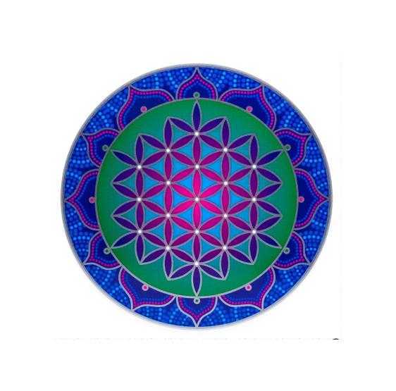Fleur de vie - sunseal - autocollant 13,5 cm - bleu & rose