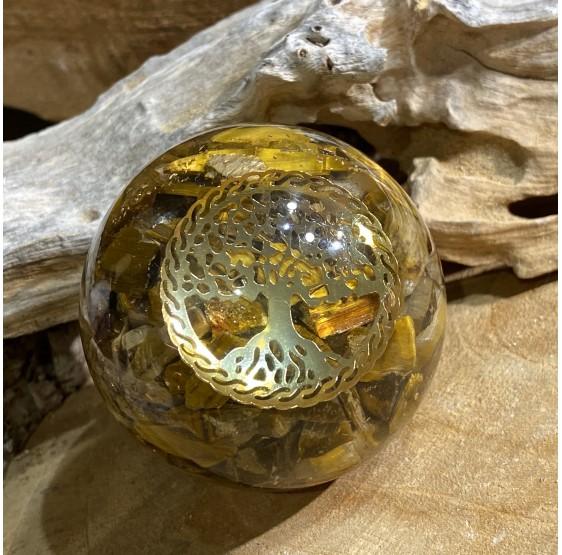 Sphère d'Orgonite Oeil de tigre avec l'arbre de vie - 5 cm