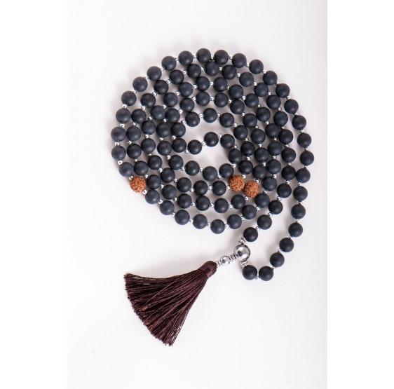 Collier Mala de la connaissance - obsidienne & Rudraksha