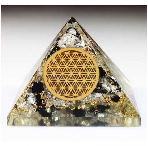 pyramide orgone-flow Tourmaline Fleur de vie 7 x 7 cm