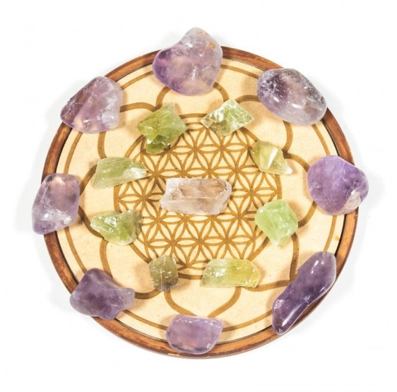 Grille de cristal Amour - plaque avec pierres gemme