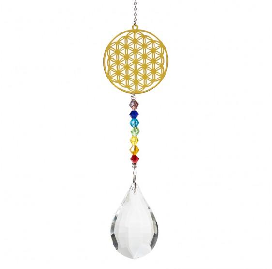 Mobile Fleurde vie  - goutte cristal - Chakra - Fleur de vie dorée Feng shui