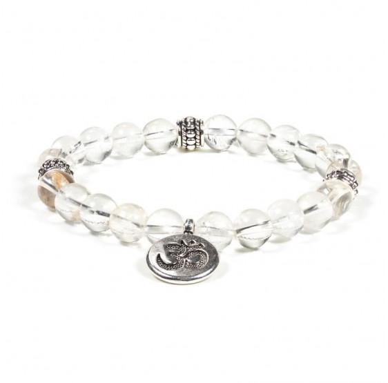 Mala / bracelet cristal de roche élastique Om - Ohm