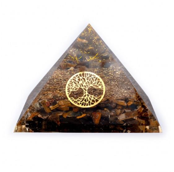 Pyramide Oeil de tigre avec Arbre de vie - orgone