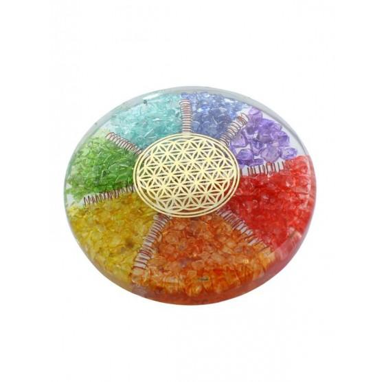 Sous verre Orgonite 7 Chakras avec symbole Fleur de Vie