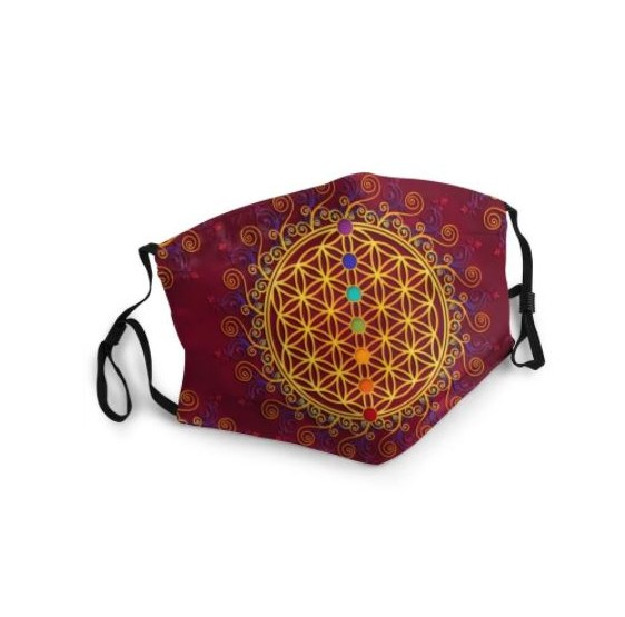 Masque buccal Fleur de vie - Lotus Mandala - ROUGE