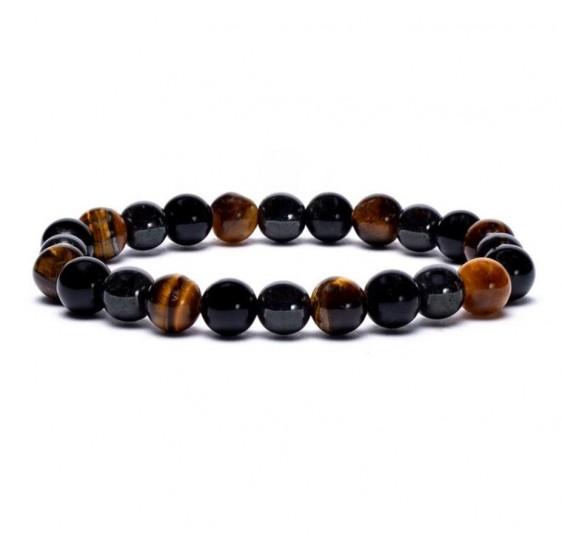 Bracelet Hématite / Oeil de Tigre / Obsidienne - 8 mm