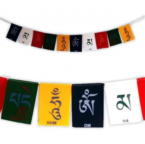 Drapeaux prière tibétains OMPMH - velours luxe - 10x13 cm