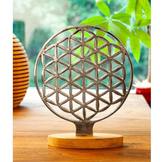 Fleur de Vie ambiance métal avec support - 20 cm