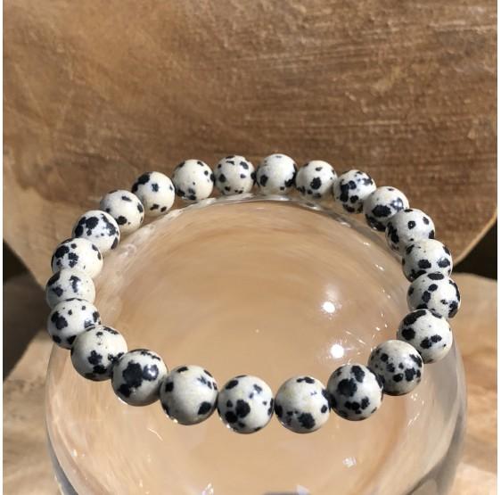 Bracelet jaspe dalmatien 8 mm -  elastique