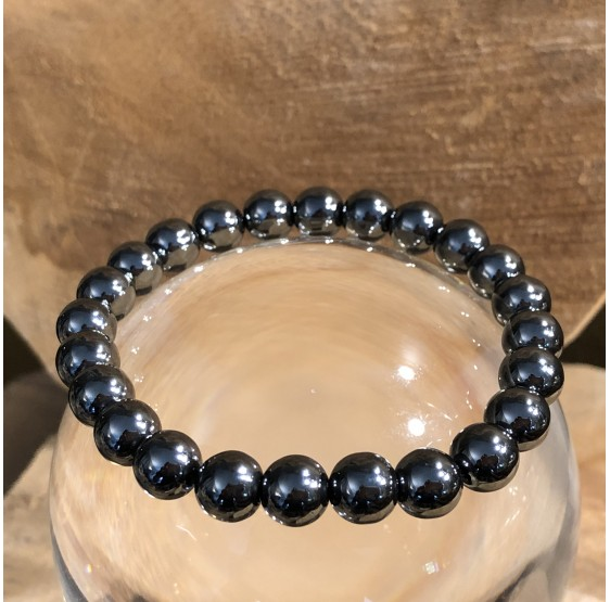 Bracelet Hématite plat - elastique