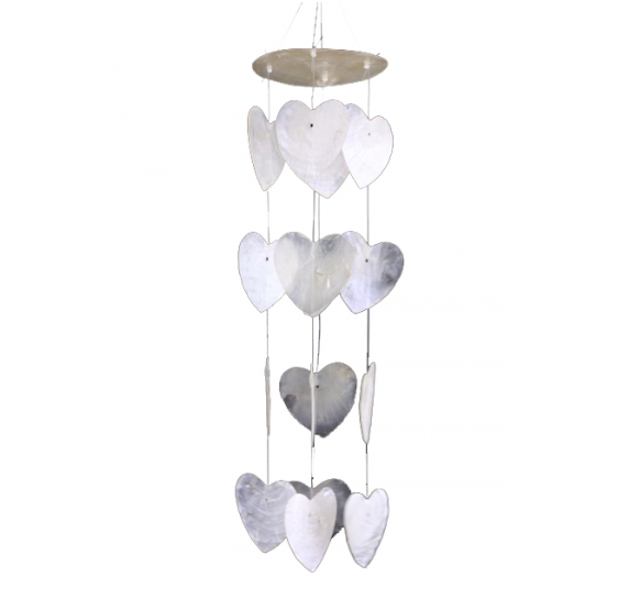 Carillon petits cœurs blancs - coquillage capiz