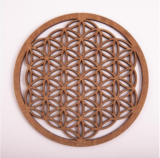 Fleur de Vie en bois - 14,4 cm - plaque bouleau
