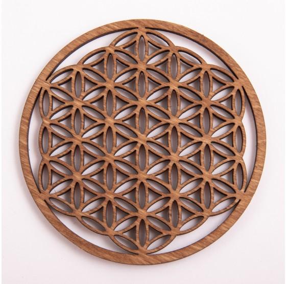 Fleur de Vie en bois - 9 cm - plaque bouleau