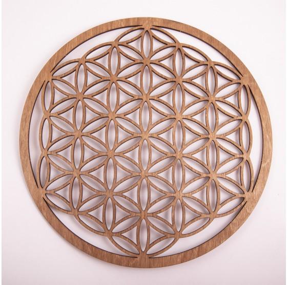 Fleur de Vie en bois - 28 cm - plaque bois brun foncé
