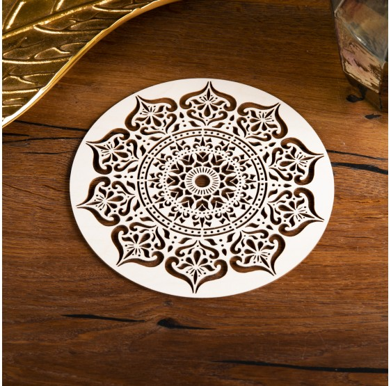 Mandala Sagesse intérieure -  plaque en bois - 20 cm