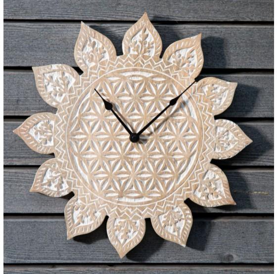 Horloge Fleur de Vie bois sculpté 38 cm